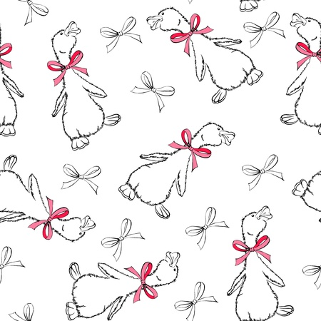 Baby seamless background with duck and bows Vector