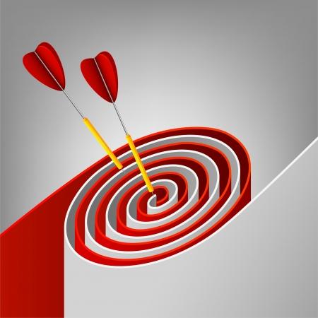 Résumé cible avec des fléchettes frapper la marque Banque d'images - 14387786