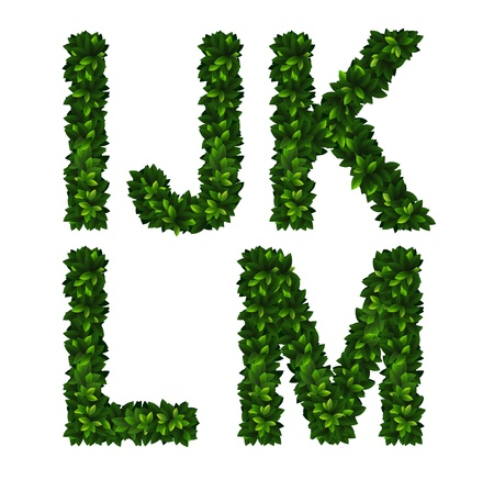 l natural: Bright natural alphabet from green leaves. Set. Letters i, j, k, l, m