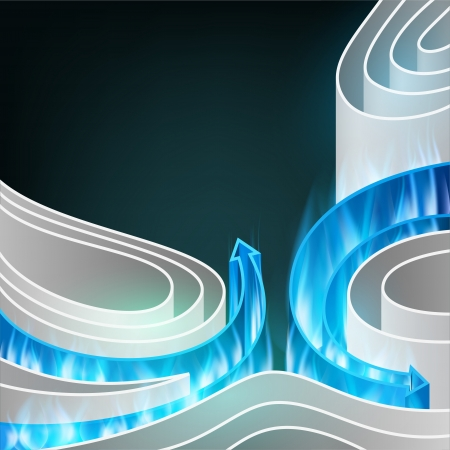 Abstract background of white elements with bright burning arrows