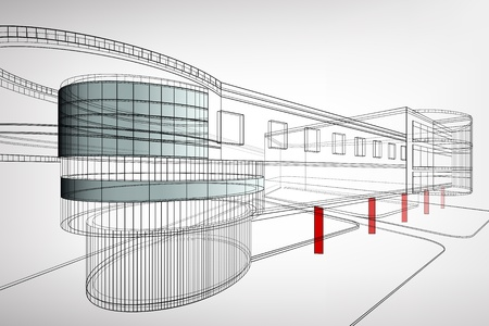 building sketch: Abstract 3d framework building  Architectural background
