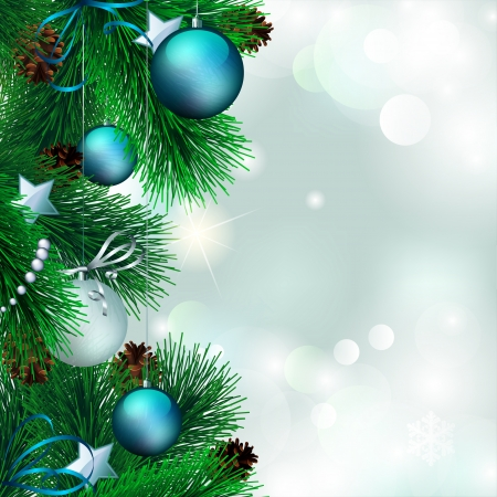 pine cone: Vector christmas background with decorated christmas tree on shiny background  Illustration