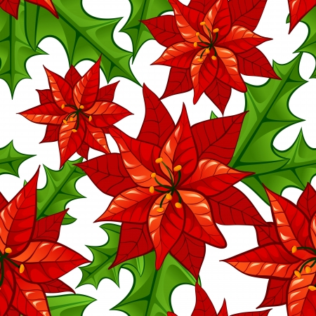 Christmas bright seamless background with flowers  euphorbia and holly leaves Illustration