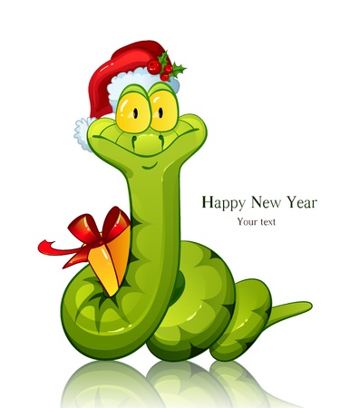 Snake  Symbol of new 2013 year  With gift and in christmas cap