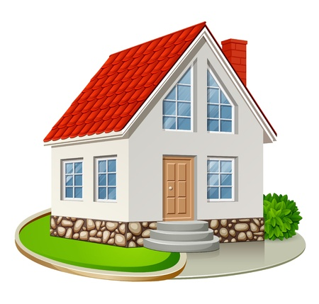 detached house: Single house with red roof isolated on white background illustration