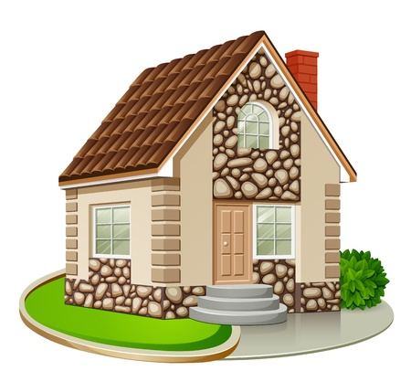 detached house: Single house isolated on white background illustration Illustration