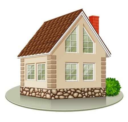suburb: Single house isolated on white background. Vector illustration Illustration