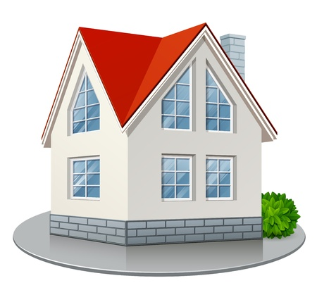 detached house: Single house with red roof isolated on white background. Vector illustration