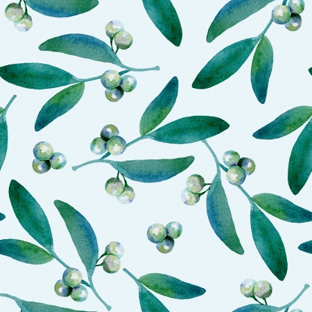 Seamless background with mistletoe branches. Watercolor painting photo