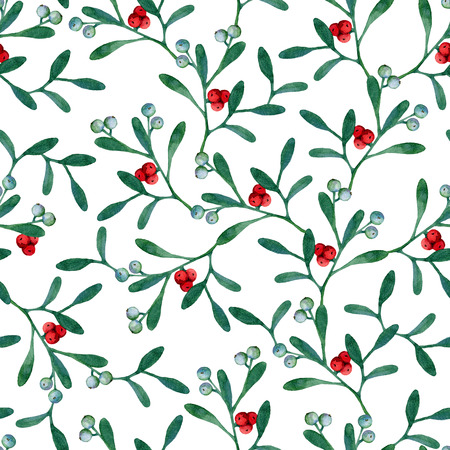 Seamless christmas background with mistletoe branches. Watercolor painting