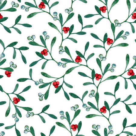 muerdago: Sin problemas de fondo de Navidad con ramas de mu�rdago. Pintura de la acuarela
