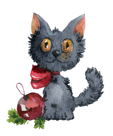 cat cartoon: Dark gray fluffy kitten with New Years ball. Watercolor painting