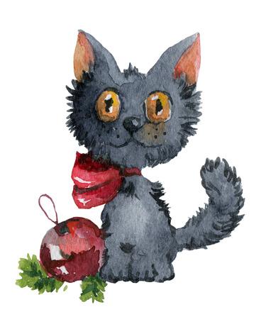 gato caricatura: Oscuro esponjoso gatito gris con la bola de Año Nuevo. Pintura de la acuarela