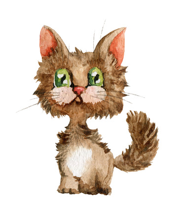 Pretty green-eyed kitten. Watercolor painting