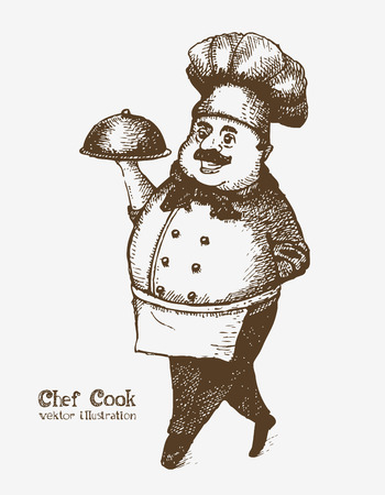 Cheerful smiling cook with tray. Sketch drawing Ilustração