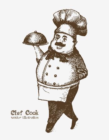 Cocinero sonriente alegre con bandeja. Dibujo Sketch Vectores