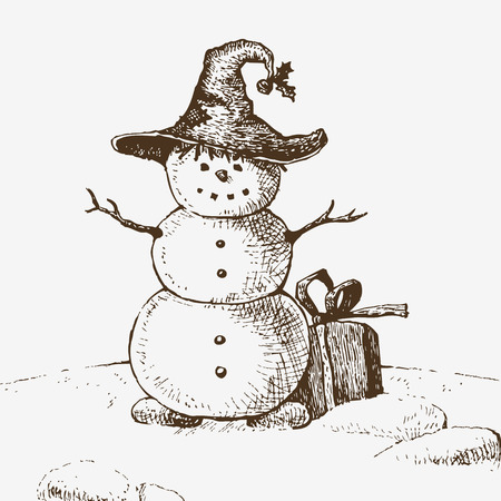 Snowman in hat with gift. Sketch drawing