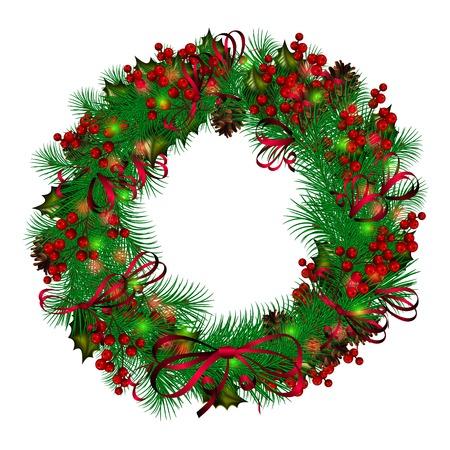 festive pine cones: Christmas wreath on white background Illustration
