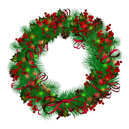Christmas wreath on white background Illustration