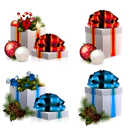 Set of Christmas boxes with gifts Vector