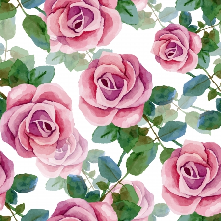 Seamless background with roses. Watercolor painting. Vector illustration Ilustração