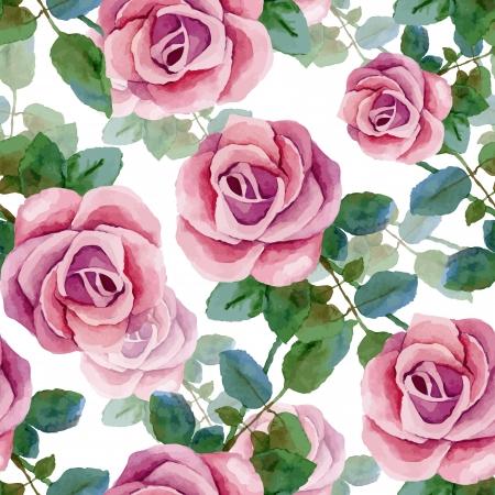 Sfondo senza soluzione di continuità con le rose. Pittura ad acquerello. Illustrazione vettoriale Archivio Fotografico - 25234959