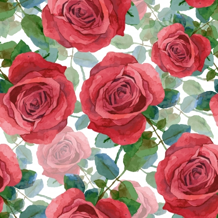 Seamless background with roses  Watercolor painting