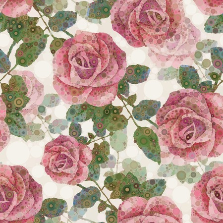 Flower pattern  Abstract seamless background  Pink roses