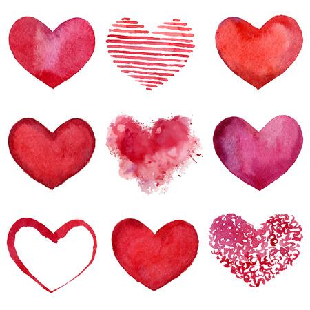 Set of watercolor hearts  Vector illustration