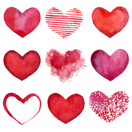 Set of watercolor hearts  Vector illustration