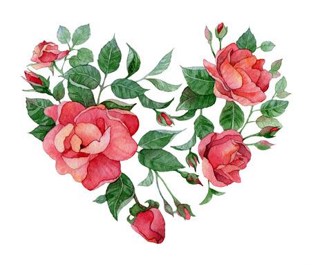 Acuarela del coraz�n floral de rosas