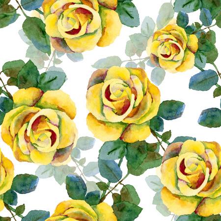 Sin problemas de fondo con rosas. Pintura de la acuarela
