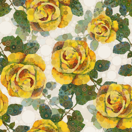 yellow roses: Abstract floral pattern. Vector  seamless background. Yellow roses Illustration