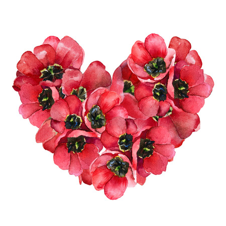 Red volume heart of flowers tulips isolated on white background photo