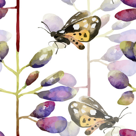 lupine: Floral pattern. Vector seamless background. Violet lupines and butterflies Illustration