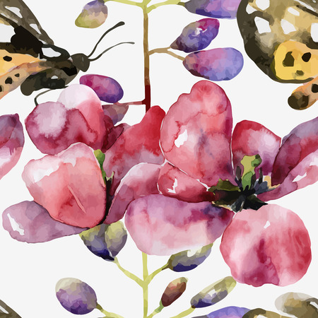 lupine: Floral pattern. Vector seamless background. Violet lupines, tulips and butterflies