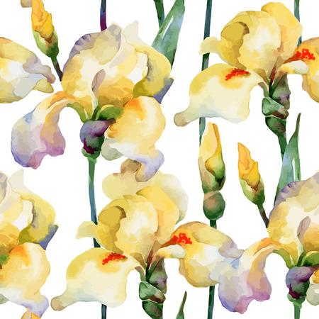 花柄。ベクトルのシームレスな背景。黄色アイリス