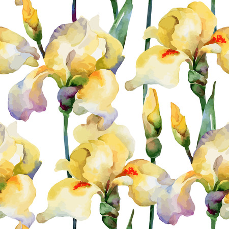 Floral pattern. Vector seamless background. Yellow irises