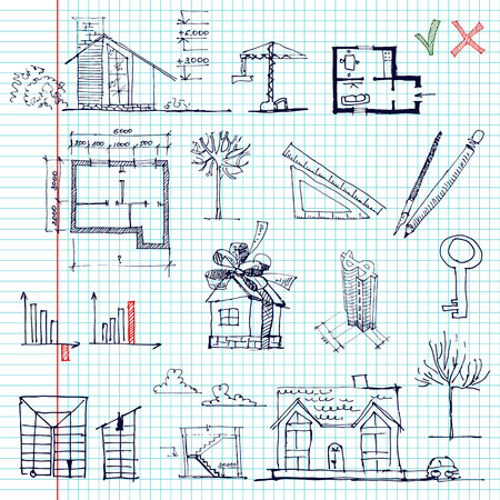 yes no: Set of architectural and business elements. Sketch. vector illustration