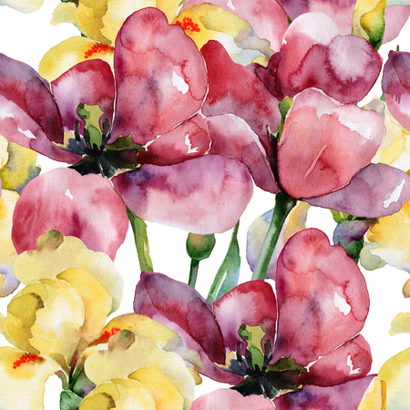 Floral pattern. Watercolor seamless background. Purple tulips  and yellow irises