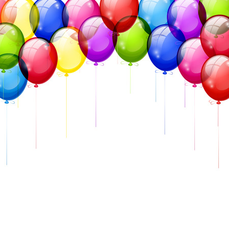 Arch of colored balloons isolated on a white background. Vector illustration