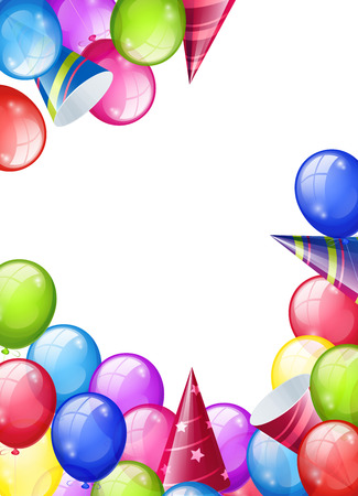 Bright background with balloons and caps. Vector illustration