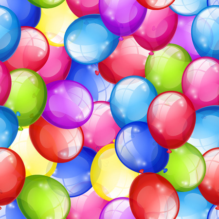 Bright festive seamless background with multi-colored balloons. Vector illustration Vector