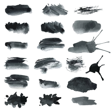 Set of gray handmade watercolor stains. Vector illustration