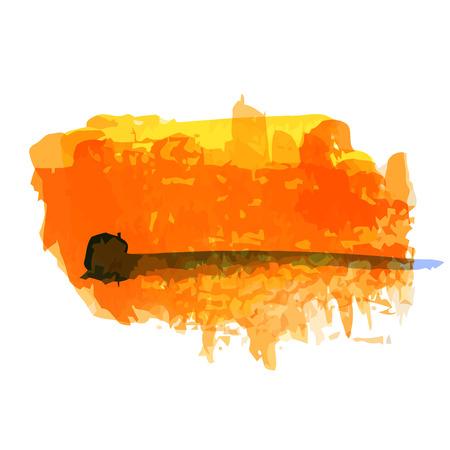 Mancha de acuarela de color naranja brillante. Ilustraci�n vectorial