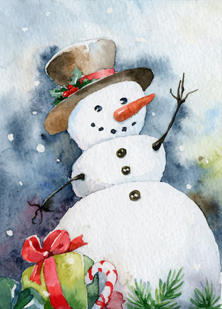 Bright Christmas card. Cheerful snowman. Vector illustrations