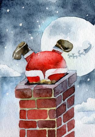 Merry Christmas card. Père Noël coincé dans la cheminée. illustrations vectorielles Banque d'images - 33261939