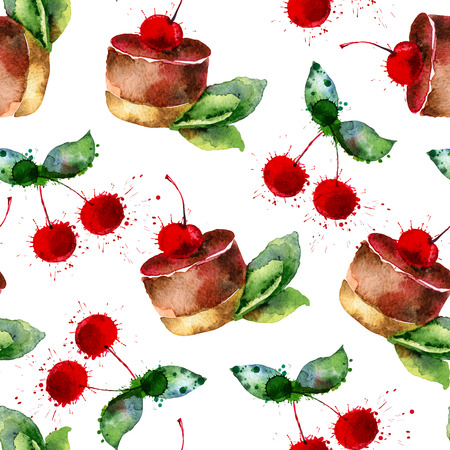 Seamless background . Pattern with cakes and cherries. Vector illustration Vector