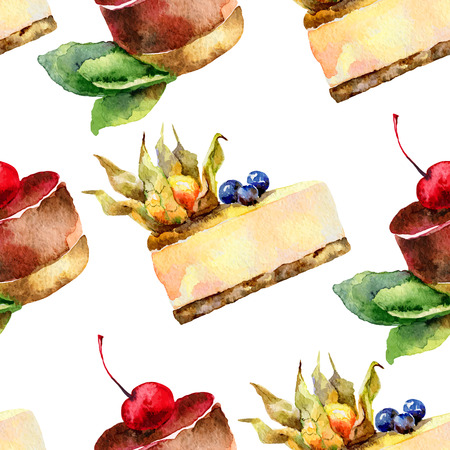 blueberry cheesecake: Seamless background . Pattern with cakes. Vector illustration