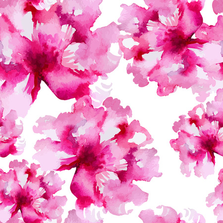 Floral pattern. Vector seamless background. Pink peonies